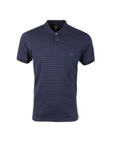 Pretty Green Mens Blue Abbott Jacquard Polo Shirt