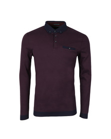 Ted Baker Mens Purple L/S Oxford Polo