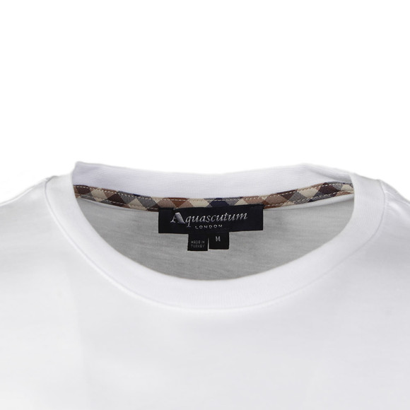 Aquascutum Mens White Griffin Crew Neck Logo Tee main image