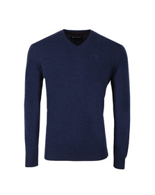 Barbour Lifestyle Mens Blue Lambswool V Neck Jumper