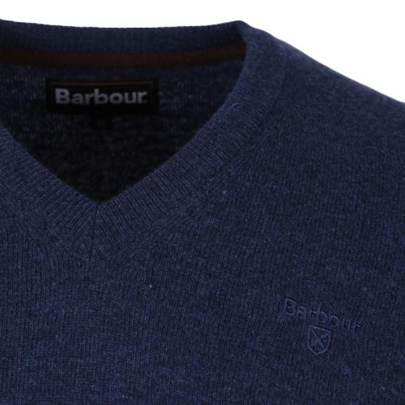 Barbour Lifestyle Mens Blue Lambswool V Neck Jumper
