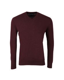 Barbour Lifestyle Mens Red Lambswool V Neck Jumper