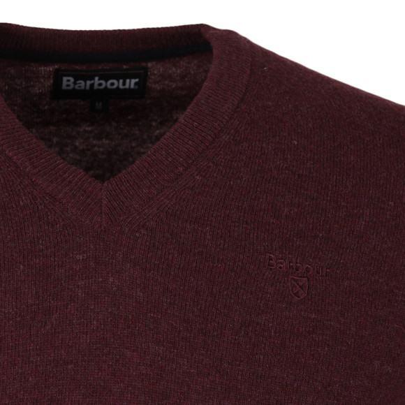 Barbour Lifestyle Mens Red Lambswool V Neck Jumper main image