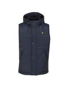 Lyle and Scott Mens Blue Wadded Hooded Gilet