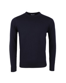 Aquascutum Mens Blue Fenton Crew Neck Knit With CC Patches