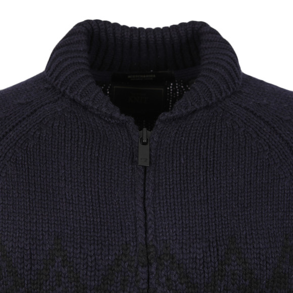Scotch & Soda Mens Blue Knitted Zip Thru Cardigan main image