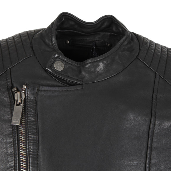 Scotch & Soda Mens Black Leather Biker Jacket main image