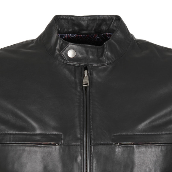 22a0971efdcbcf ... Ted Baker Mens Black Leather Jacket main image ...