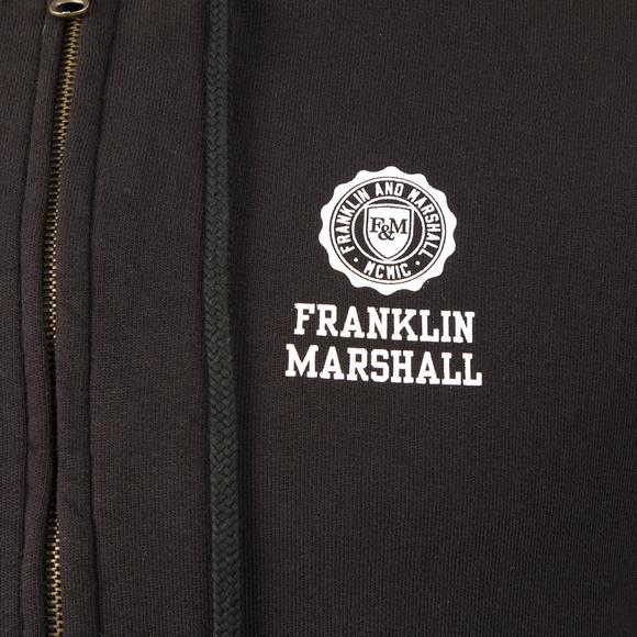 Franklin & Marshall Mens Black Printed Small Logo Full Zip Hoody main image
