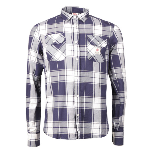 Franklin & Marshall Mens Blue Large Check Shirt main image