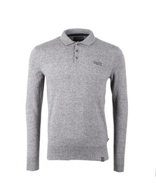 Superdry Mens Grey L/S Knitted Polo