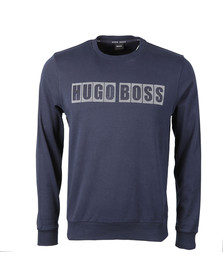 Boss Mens Blue Large Logo Sweatshirt