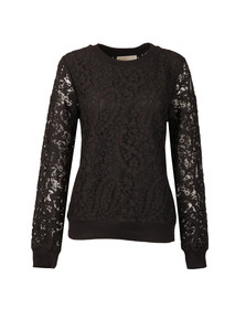 Michael Kors Womens Black Lace Rib Sweatshirt