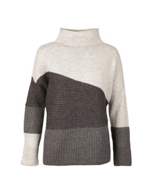 French Connection Womens Grey Patchwork Tonal Knit