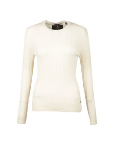 Superdry Womens Off-white Luxe Mini Cable Knit