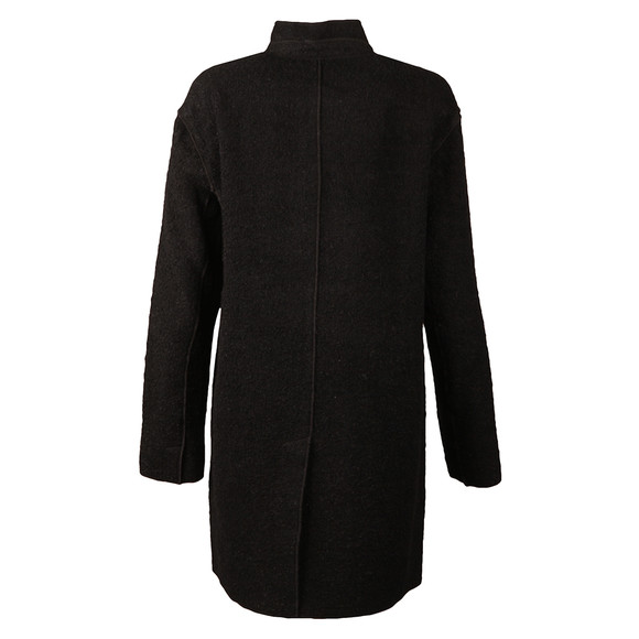 Michael Kors Womens Black Raw Edge Overlap Coat main image