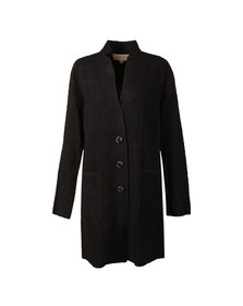 Michael Kors Womens Black Raw Edge Overlap Coat