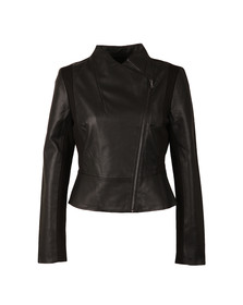 French Connection Womens Black Chariot Pu Wrapover Jacket