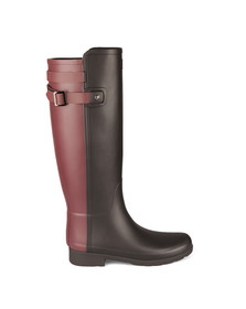 Hunter Womens Black Original Tall Refined Back Strap Wellington Boots
