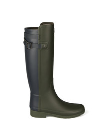 Hunter Womens Green Original Tall Refined Back Strap Wellington Boots