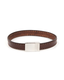 Ted Baker Mens Brown Leather Stitch Clasp Bracelet