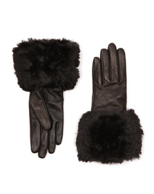 Ted Baker Womens Black Emree Faux Fur Cuff Gloves