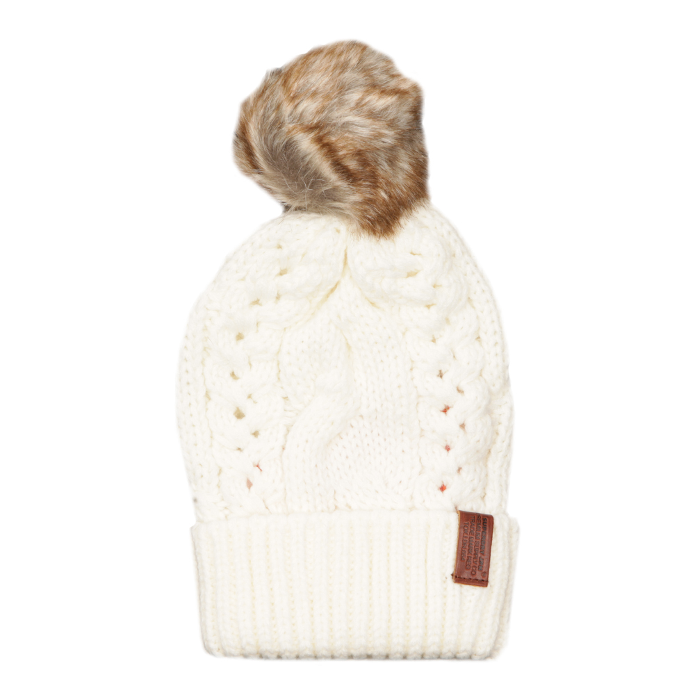2dacf888e3f Loading zoom · Superdry Womens Off-White North Cable Bobble Hat ...