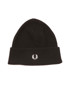 Fred Perry Mens Black Merino Wool Beanie
