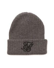 Sik Silk Mens Grey Ribbed Knit Contrast Embroidery Hat