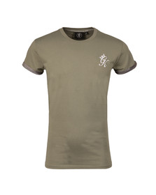 Gym king Mens Green Camo Roll Sleeve T Shirt