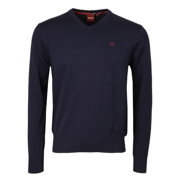 Merc Mens Blue Corby V Neck Jumper main image