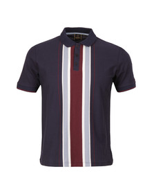 Merc Mens Blue Hessle Vertical Stripe Polo Shirt