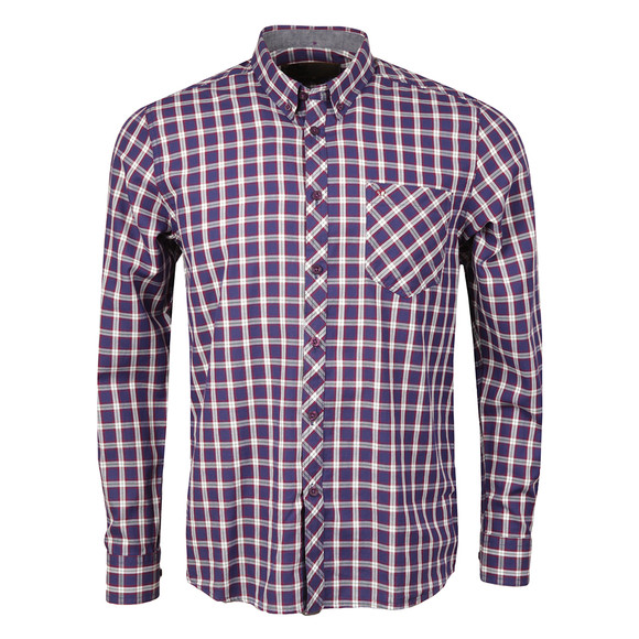 Merc Mens Blue Sancton Check Shirt main image