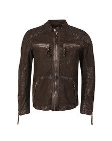 Pearly King Mens Brown Gear Leather Jacket