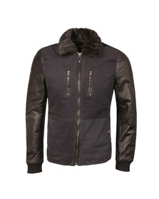Pearly King Mens Blue Gusto Leather Sleeve Jacket