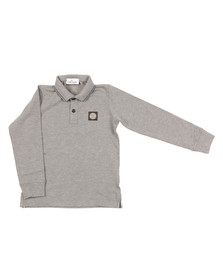 Stone Island Junior  Boys Grey Boys Long Sleeve Tipped Polo