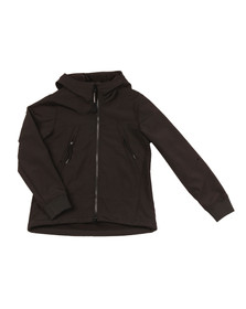 CP Company Undersixteen Boys Black Soft Shell Goggle Hooded Jacket