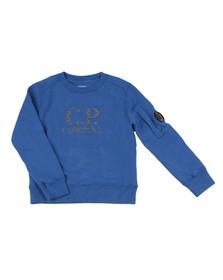CP Company Boys Blue Reflective Logo Crew Sweatshirt