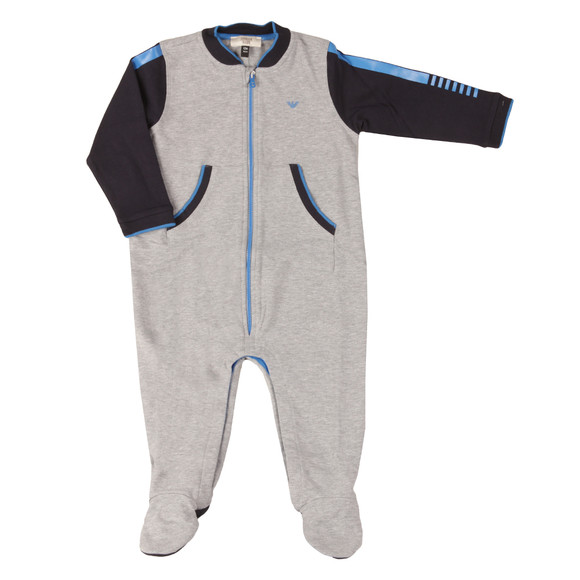 Armani Baby Boys Grey Full Zip Jersey All In One main image