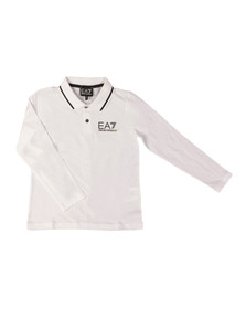 EA7 Emporio Armani Boys White Tipped Long Sleeve Polo Shirt