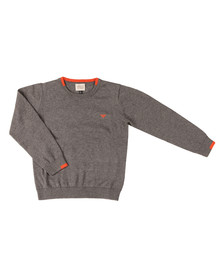 Armani Junior  Boys Grey Small Logo Knitted Crew Jumper