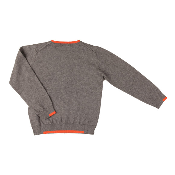 Armani Junior  Boys Grey Small Logo Knitted Crew Jumper main image