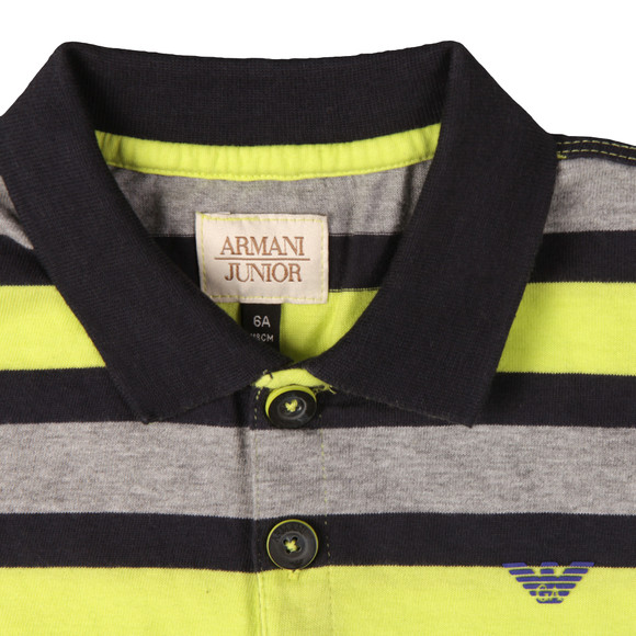 Armani Junior  Boys Grey Multi Stripe Polo Shirt