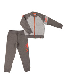 Armani Junior  Boys Grey Sleeve Logo Full Zip Tracksuit
