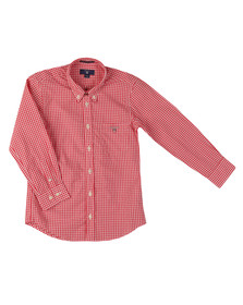Gant Boys Red Archive Poplin Gingham Shirt