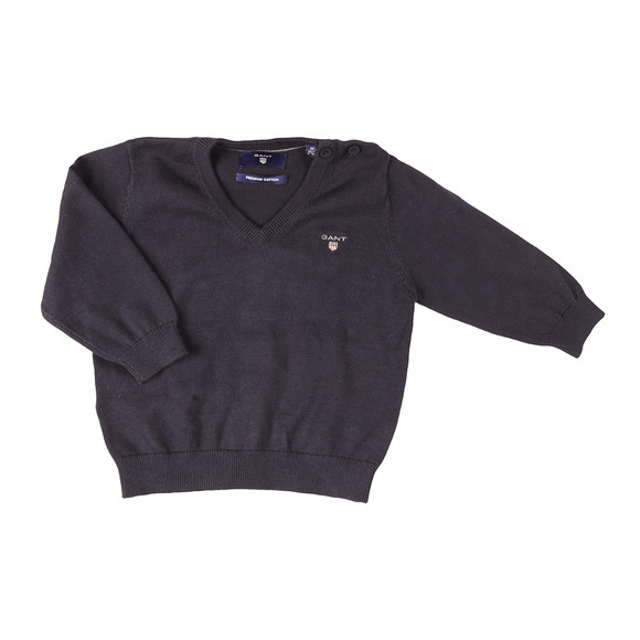 Gant Boys Blue Baby Light Weight Cotton V Neck Jumper main image