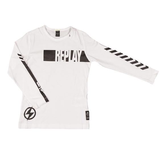 Replay Boys White Boys SB7072 Logo T Shirt main image