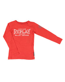 Replay Boys Red Boys SB7054 Logo T Shirt
