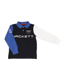Hackett Boys Blue AMR Multi LS Polo Shirt