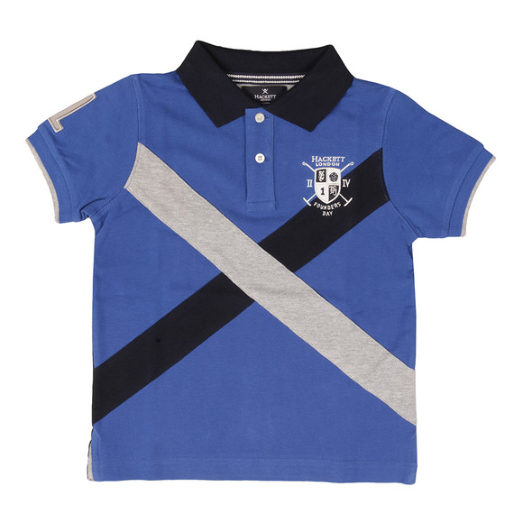 Hackett Boys Blue Cross Panel Polo Shirt main image